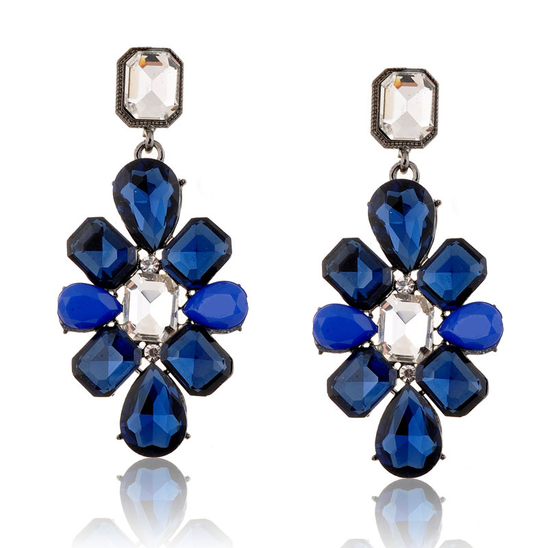 q-d2015 New fashion Blue And Black Crystal Earrings Top Quality Hot Sale Elegant Jewelry Silver Drop Earrings For Women 1217(China (Mainland))