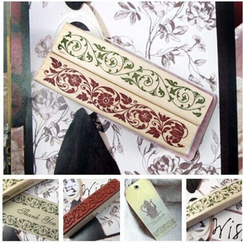 Beautiful Design The Best Price Wooden Rubber Flower Lace Stamp Floral Seal Scrapbook Handwrite Wedding Craft For Decoration(China (Mainland))