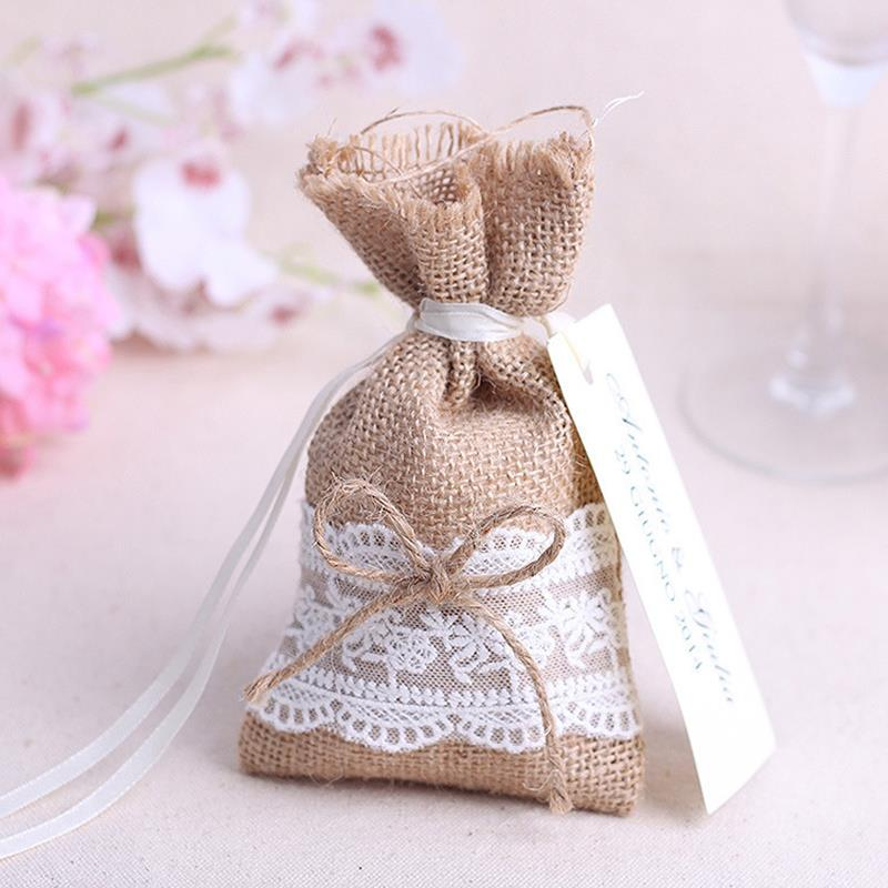 2015 new year wedding candy bag with diy kraft tag burlap pouch lace