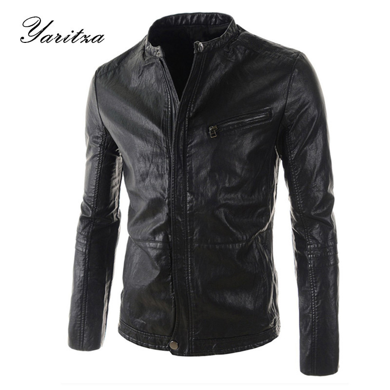 New Hot HOt New Warm Men's Leather Motorcycle Standing Collar Jackets Coat Black/Brown leather jacket men jaqueta masculina(China (Mainland))