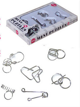 Adult intelligence toys educational toys ring solution opening metal ring puzzles for your brain 6 piece set(China (Mainland))