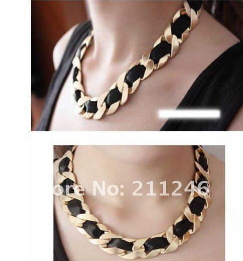 2016 Newest Necklace Jewellery Hot sale Wholesale Pop double  braided rope chain necklace Girl/lady's fashion  vintage Necklace
