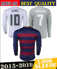 2015 2016 top Thai Quality  Real Madrid long sleeve Jerseys 15 16 white home away grey Long Sleeve RONALDO football Camiseta(China (Mainland))