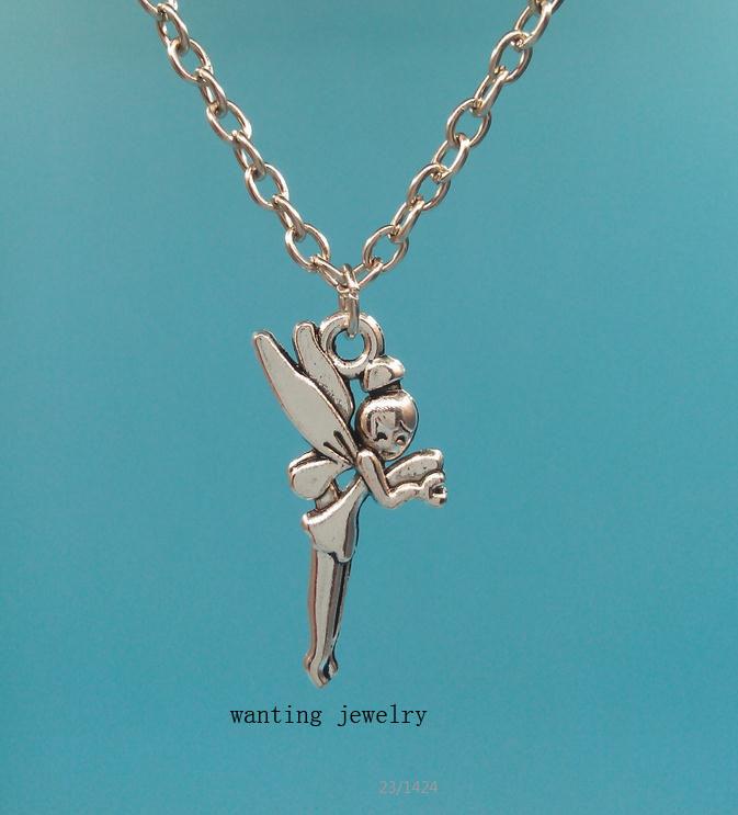 Fashion Fairy Antique Vintage Silver Angel Pendant Necklace Collar Statement Jewelry Women 1pcs/lot(China (Mainland))