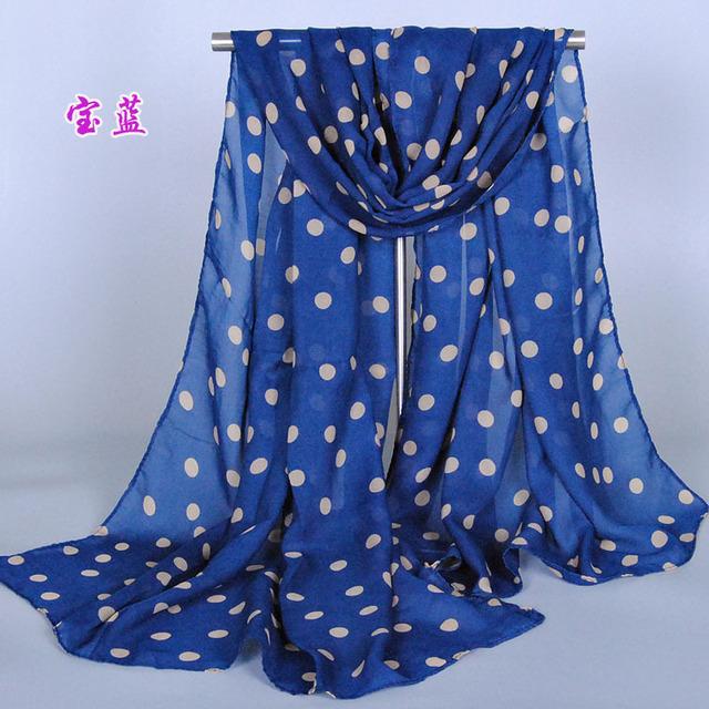 Продажа сверхновой стильная девушка длинный мягкий шелковый шифон шарфа горошек платок Scarve для женщин горячая распродажа