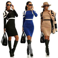 2015 New Long Sleeve Womens Office Work Dress Pencil Midi Style Bodycon Style Dress Wedding Party Size S-XL(China (Mainland))