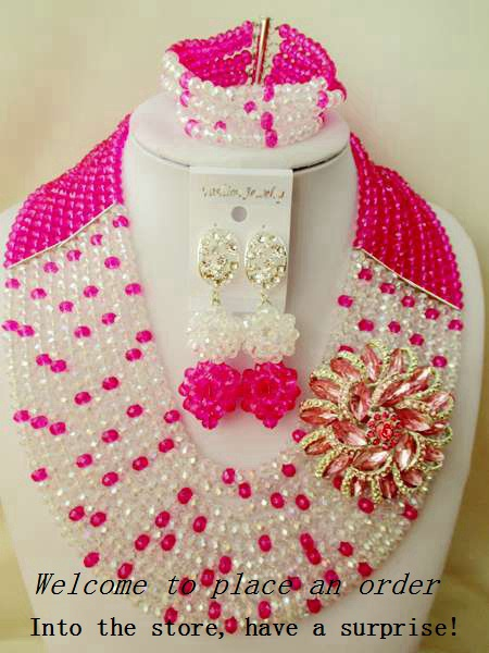 2015 Fashion african Fuchsia Pink crystal beads necklace set nigerian wedding african beads jewelsry et Free shipping P-2600<br><br>Aliexpress