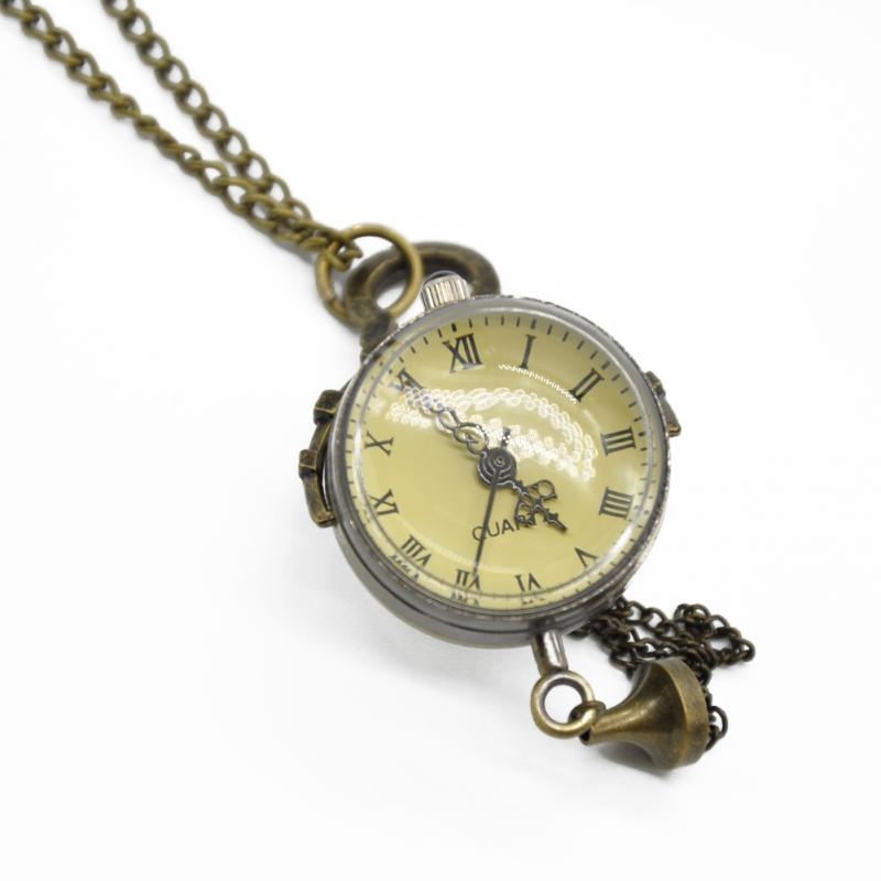 Vintage Copper Color Roman Numbers Ball Shape Pocket Watch Quartz Pocket Watch Pendant With Chain Unisex Gift Free Shipping(China (Mainland))