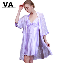 Buy VA 2 Pieces Nightgown Robe Sets Woman V Neck Half Sleeve Print Satin Bath Robes Loose Elegant Sexy Sleepwear Bathrobes P00947 for $15.31 in AliExpress store