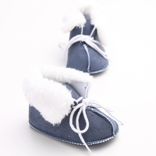 DeleBao 2016 New Design Winter Soft Newborn Baby Soft Shoes Downy Warm First Walkers Non-slip Lace-up Baby Soft Sole Shoes