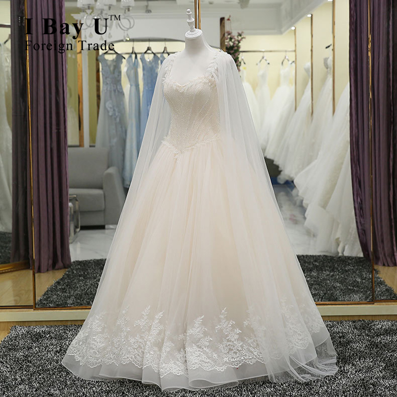 I Bay U Full Beading Appliques Lace Wedding Dresses 100% Real Photos High Quality Strapless Ball Gown Wedding Dress 2016 Jacket(China (Mainland))