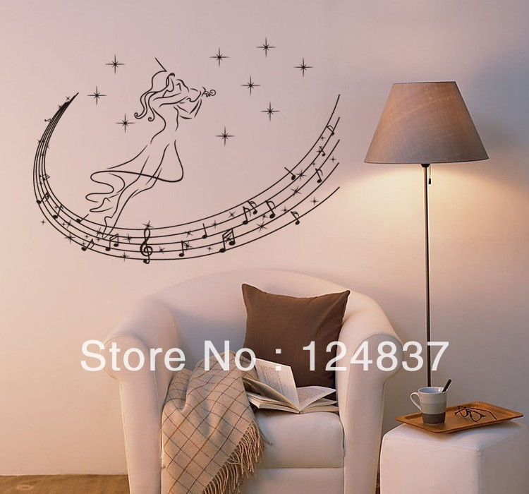 50*70cm Music Wall Sticker cartoon stickers decals for kids PVC wallpaper vinyl Removable decals home Decor DIY wall art Mural(China (Mainland))