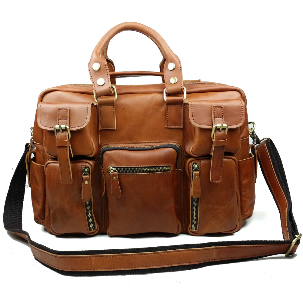 new Men's vintage oil leather business handbags male genuine leather briefcases fashion messenger bag shoulder bags travel bags