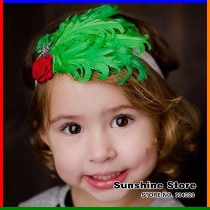 Sunshine store #2B2241  5 pcs/lot(green red) baby headband children two flower feather headband starfish christmas headwear CPAM