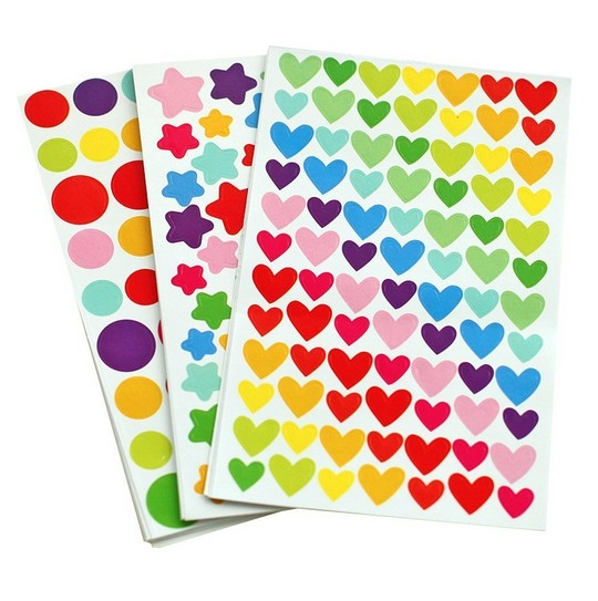 6 sheets/set Colorful Seal Cute Love Heart Dot Five-pointed Star Decoration Scrapbooking Paper Stickers Stationery Post It(China (Mainland))