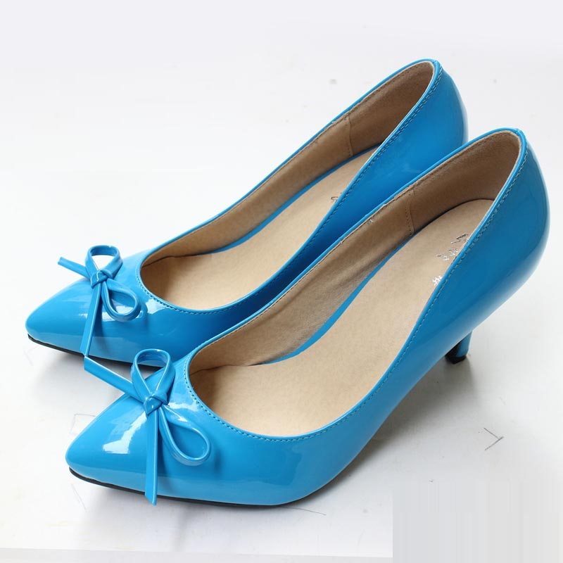 2016 Size 34-41 Fashion Bowknot Patent Leather 3 inch Sexy Pointed Toe High Heels Women Pumps Ladies Shoes Woman Chaussure Femme(China (Mainland))