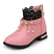 Kız Çocuk Moda Çizmeler Çocuk Deri PU ayakkabıları Bebek Kar Botları Kadınlar Genç Dantel Inci lastik çizmeler Pembe Siyah Kırmızı(China)