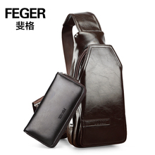 FEGER PU Leather Shoulder Sling Chest Hiking Bicycle Bag with Holes for Earphones