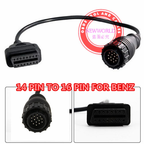 For Mercedes Benz Sprinter 14 Pin to 16 Pin OBD 1 2 Diagnostic Scanner Connector Cable High Quality(China (Mainland))