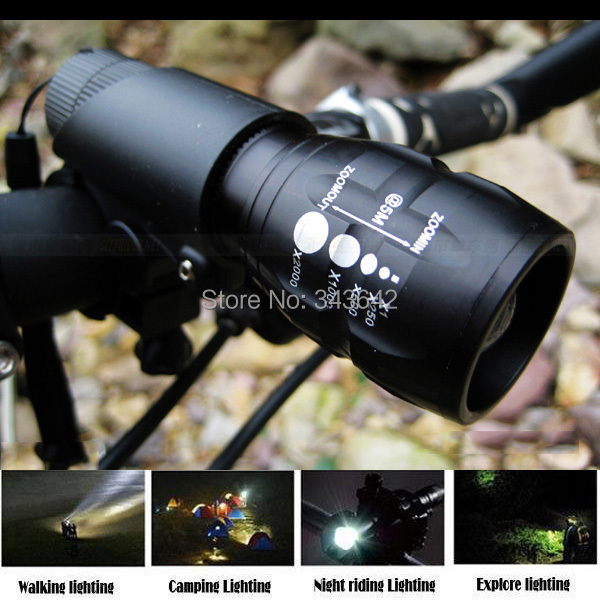 2pcs/set!! High Power Torch Practical 2000Lumens Batteries Zoomable LED Flashlight Torch light camp Bicycle Light + 1pcs Bracket(China (Mainland))