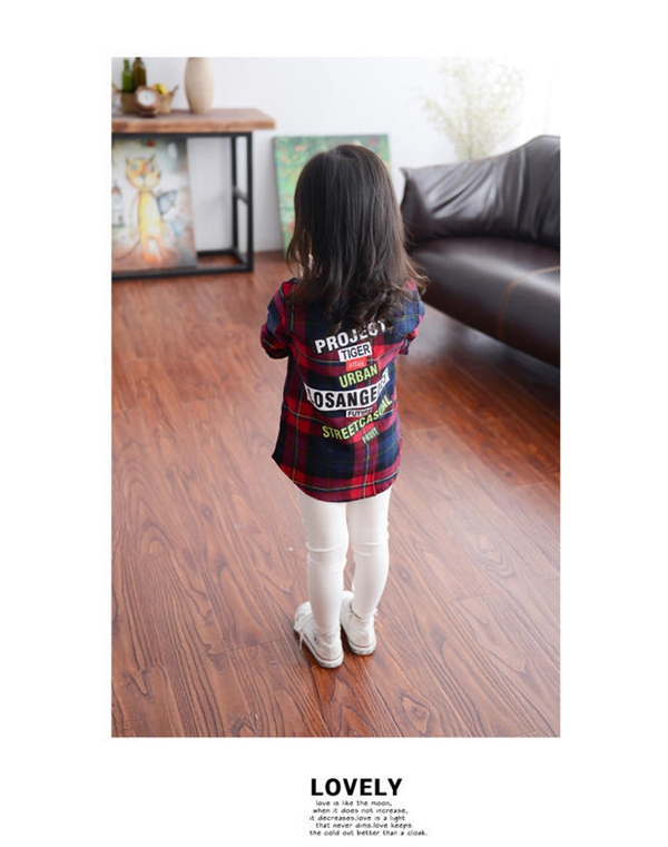 Children with girls long casual shirt shirt Plaid Korean 2016 new 3-8 F D250 in spring and Autumn