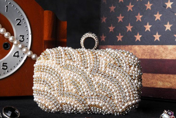 2015 Fashion Diamond Finger Ring Pearl Evening Bags Classic Luxury Day Clutch Wedding Party Clutch Beaded Glod Handbag(China (Mainland))