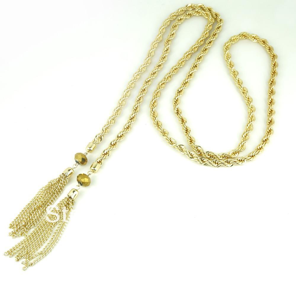 Min order 15 $ vintage monet twisted touw ontwerp hetzelfde item van mrs. obama gold tone lariat en kwastje ketting voor vrouwen(China (Mainland))