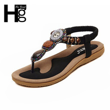 New Women Sandals 2015  Fashion String Bead Casual Flats  Sweet Elastic Band Summer Shoes For Woman 4 Colors XWZ777