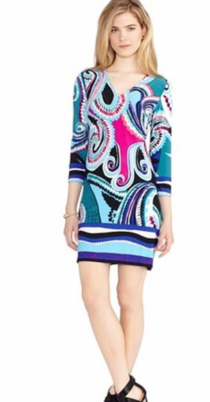 2014 Runway High Street Fashion Women's 3/4 Sleeve Blue Print Signature Day dress Jersey Silk Dress(China (Mainland))