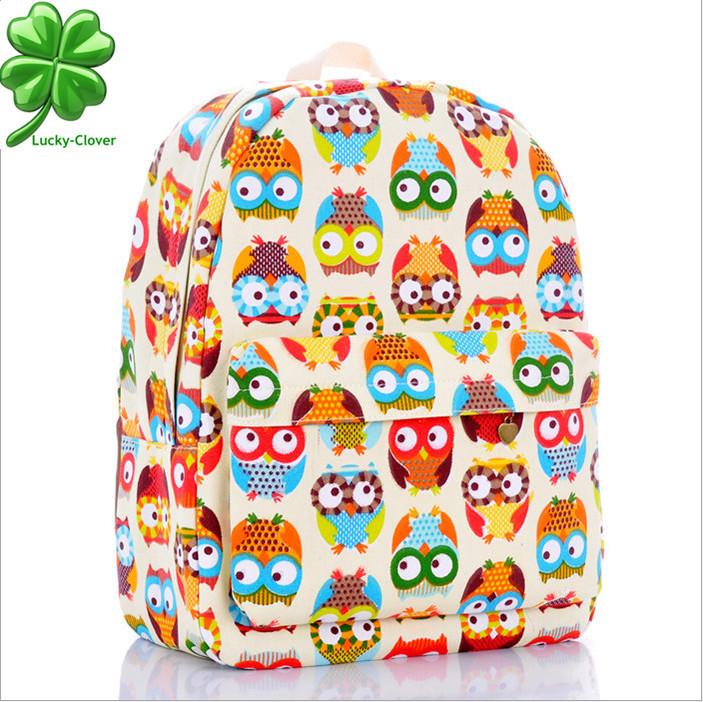 2015 New Fashion Cotton canvas printing Owl women vintage girls female kip casual school book bags laptop Brand rucksack preppy(China (Mainland))