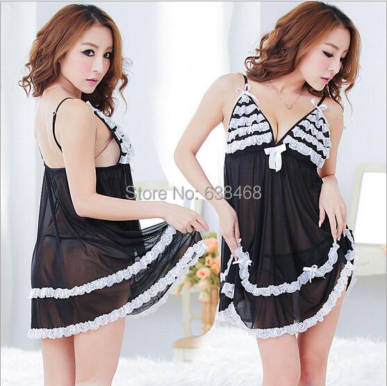 Free shipping wholesale sexy lingerie hot silk lace pajamas soft satin underwear black condole belt nightgown half slip&g-string(China (Mainland))