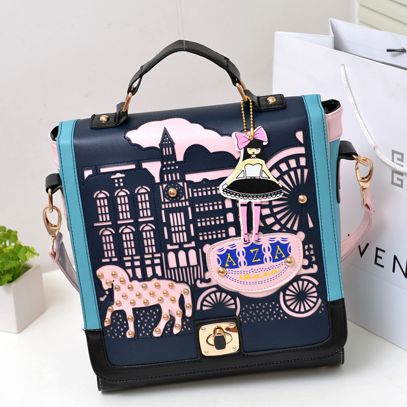 MeetU 2014 princess vintage cutout preppy style double sided women's handbag multi-purpose shoulder bag totes,fashion school - Coco Chinastyle Gifts----Just meet You store
