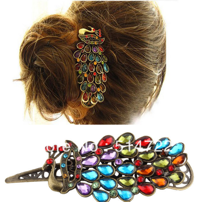 2014 new Hair Clip Retro Rhinestones Crystal Hollow Peacock Decoration Hairpin Metal hot selling(China (Mainland))