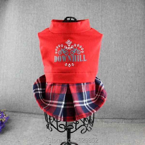 Dog pet British red and blue grid summer clothes dog dress chihuahua clothes(China (Mainland))