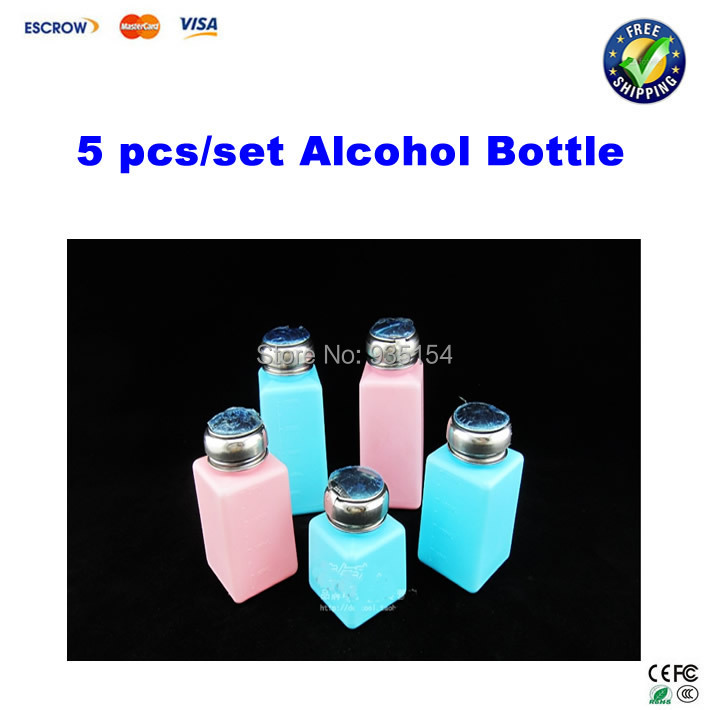Free shipping!! 5 pcs/set alcohol bottle, cleaning container blue and pink color(China (Mainland))