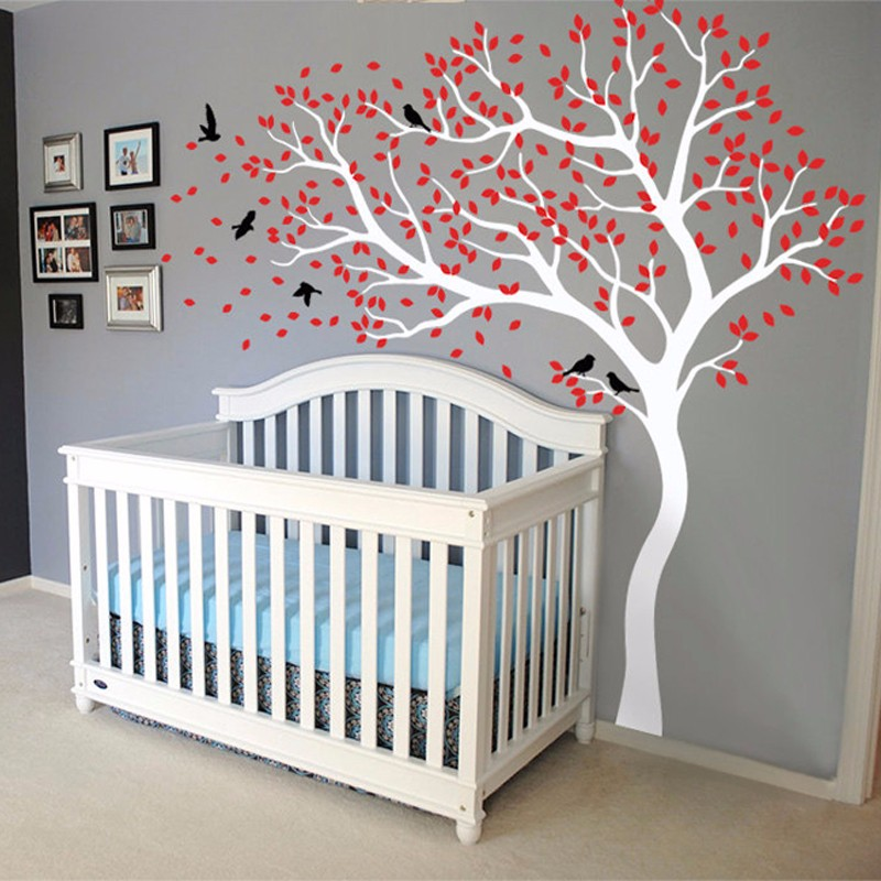Vinyl Wall Sticker Tree Huge Size Mural Wall Stickers For Kids Room Nursery Mural Wallpaper adesivo de parede TV Background D638(China (Mainland))