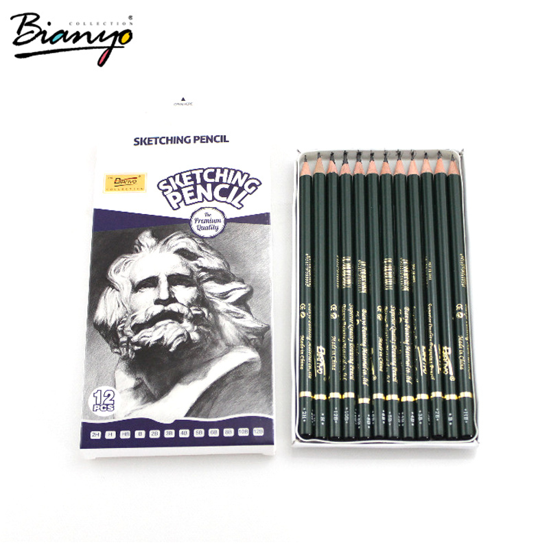 Bianyo12 Pieces/Box 2H-12B Pencil Drawing Set Different Lead Hardness Sketching Pencil Set School Sketching Pencil Free Shipping(China (Mainland))