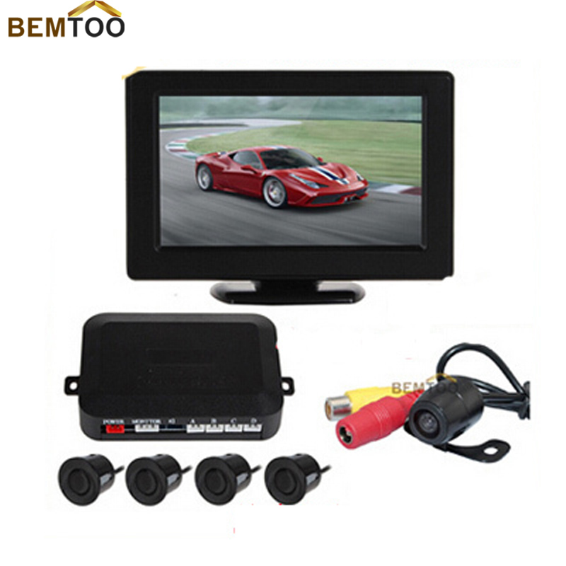 Auto Car Parking Sensor 4.3 Inch Digital TFT LCD Car  Monitor + 4 x Backup Sensors + 1 x Rearview Reverse Camera,Free Shipping<br><br>Aliexpress