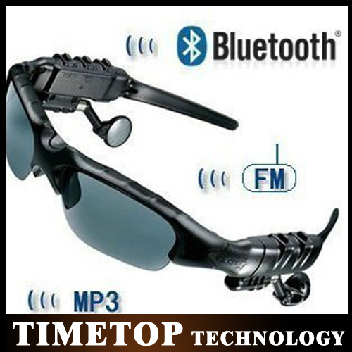 by dhl or ems 100 pieces HIFI Wireless Bluetooth Heaphone Earphone Black Sports Sunglasses with Headset for Cell Phone(China (Mainland))