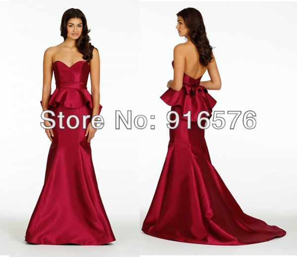 Sexy new 2014 trumpet bridesmaid dresses low back with for Peplum dresses for wedding guest