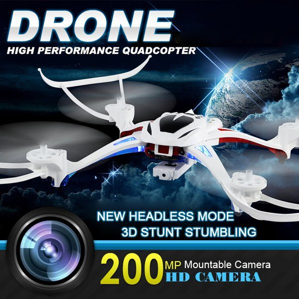 Free Shipping U807 Remote Control Helicopter Headless Mode 6 Axis 2.4G RC Quadcopter 360 Degree Stumbling 2.0MP Camera Drone<br><br>Aliexpress