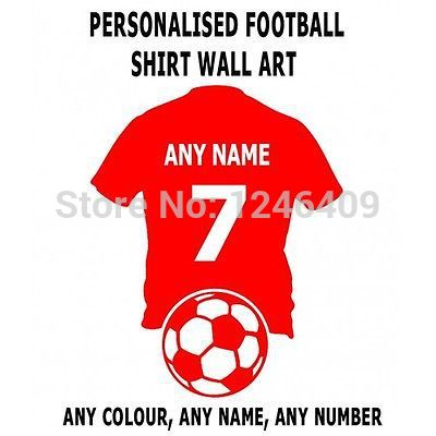 Cool Custom made personalize wall art football shirt with any name and number decal sticker-you choose name and color(China (Mainland))