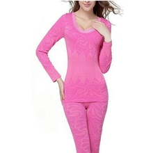 Hot Sale 2015 Autumn Women Slimming Thermo Sleepwear Set Body Shaper Wave Edge High Quality Long Johns Thermal Underwear (China (Mainland))