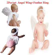 Lovely Baby Angel Wing Newbron Photography Props Set Baby Angel Fairy White Feather Wing Costume Photo Prop Cupid Atrezzo Baby(China (Mainland))