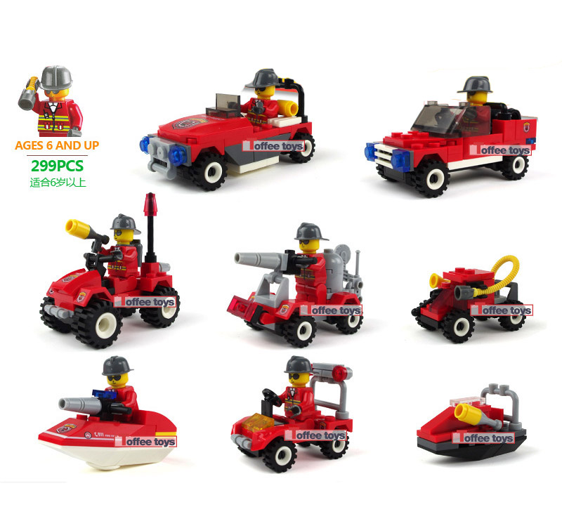 9style cheap fire item boat car model building blocks construction vehicles boy kids models simulation 3D playmobil toy model(China (Mainland))