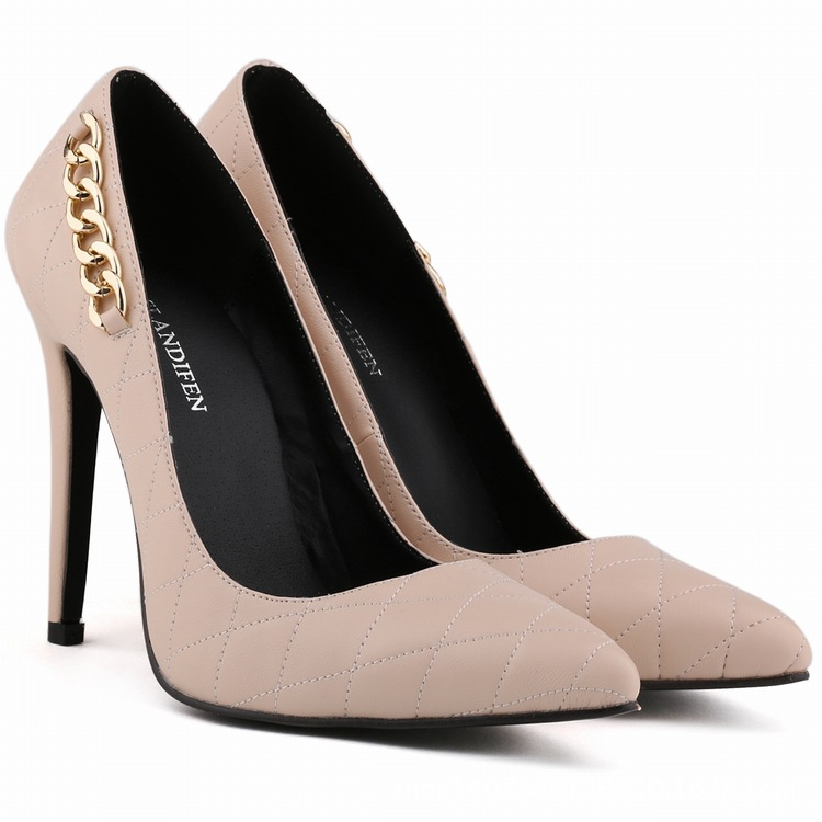 2015 New High end Leather Elegant Metal Pointed Toe Women Shoes ...