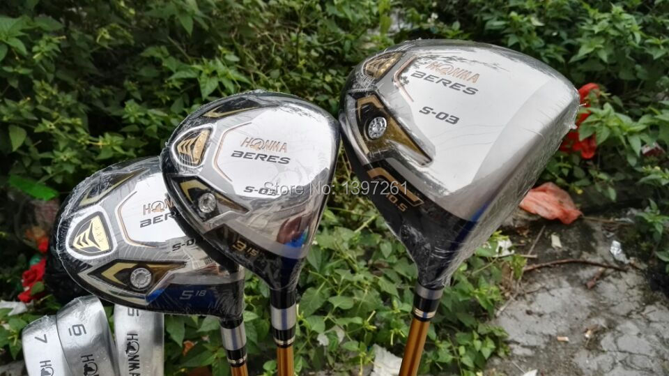 Full set Golf clubs Honma Beres S-03 driver + fairway woods 3# 5# + honma IS-03 irons (5-11#AS) + putter +bag(China (Mainland))