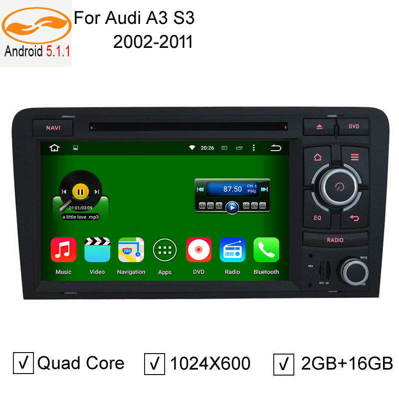 7 Inch 2 Din DVD Android 5.1.1 Quad Core Car Audio DVD Player with Screen Mirroring Function & OBD2 for Audi A3 S3 2003-2011(China (Mainland))