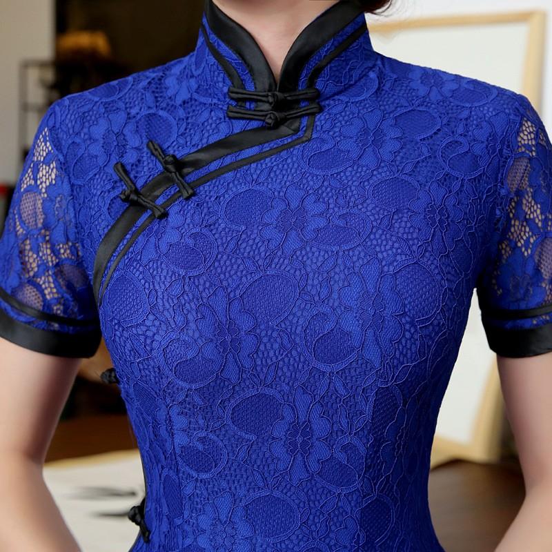 สีฟ้าวินเทจสตรีลูกไม้ยาวCheongsamจีนแฟชั่นสไตล์การแต่งกายที่สวยงามQipaoขนาดSml XL XXL XXXL F101404 ถูก