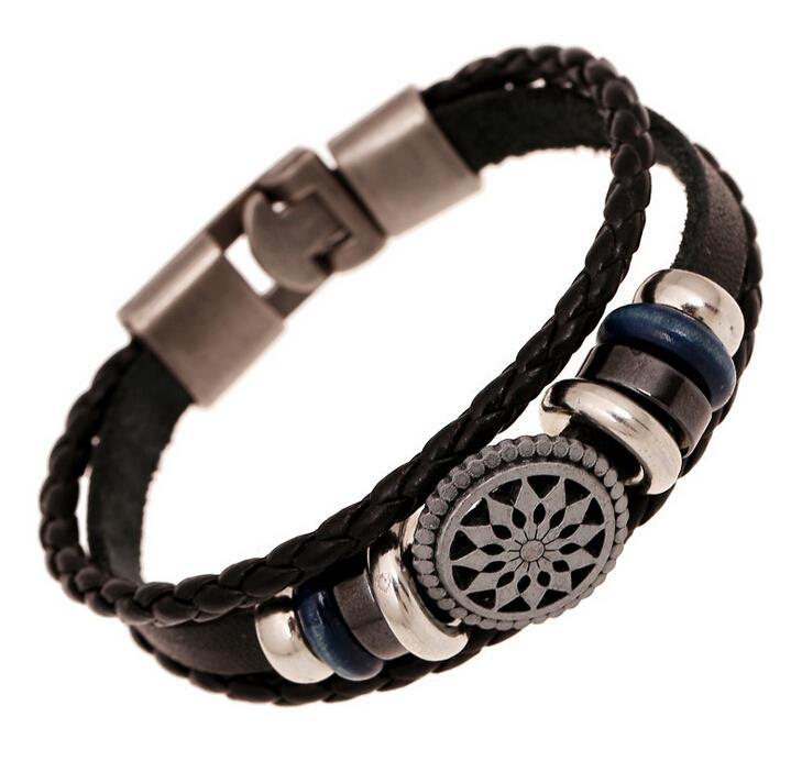 Handmade braided charm Genuine Leather bracelet men fashion vintage engraved bracelets bangles korean jewelry(China (Mainland))